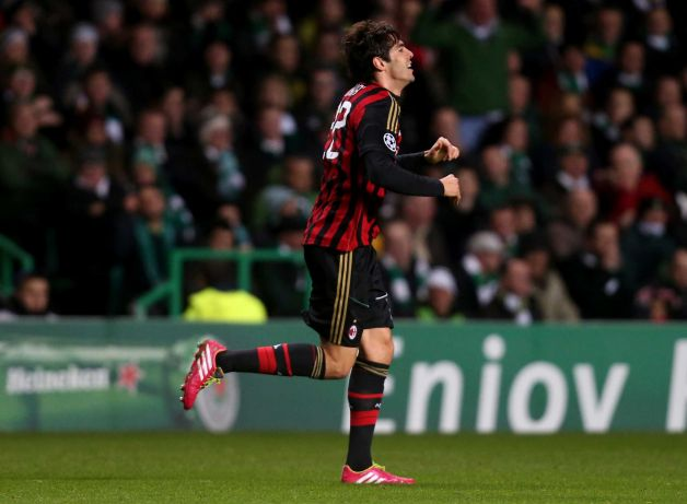 Kaka usai mencetak gol ke gawang Celtic, foto:Scott Heppell,AP